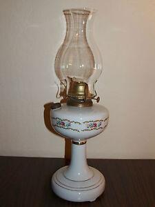 Vintage Oil Lamp Kerosene White Glass Flowers Brass Tall Cottage Shabby B&B