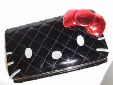 "New Women's Girl's Wallet HELLO KITTY Vinyl Black  Quilted 3D Bow 7"" x 4"""