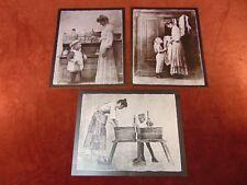 3 HENDRICKSON Metal Art Prints 1970s COUNTRY KITCHEN Wash Day GETTING DRESSED