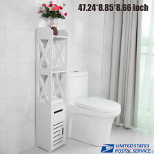 Tall Bathroom Floor Cabinet Tower Bath Caddy Storage Organizer Drawer Shelf Us