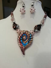 HANDCRAFTED ART LAMPWORK GLASS NECKLACE & EARRING SET With Gift Box