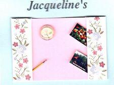 DOLLHOUSE MINIATURE LADY BLUE FLOWER DESK BLOTTER PAPERWEIGHT PENCIL JACQUELINES