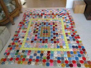 "Vintage Handmade YoYo Quilt, Comforter Bedspread 84"" x 66""-2 1/2"" Circles"