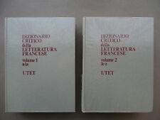 Dizionario Critico Della Letteratura Francese Utet Torino 2 Volumi 1972 Completo