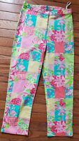 Lilly Pulitzer Multi pink Green Tropical Patch Lisa Capris Cropped Pants sz 2