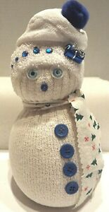 """Snowman Door Stopper White With Blue Accents Beads Button Sparkle 9"""" Tall"""