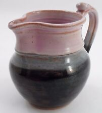 Handcrafted Frederich Art Pottery Ohio Pink & Black Handled Jug Pitcher Vessel