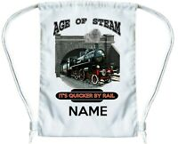 TRAIN Personalised Gym Bag for Boys or Girls Drawstring Gymsac PE Book Bag