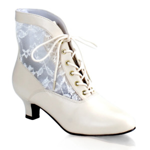 Victorian Steampunk Bridal Pioneer Witch Burlesque Ankle Ivory Lace Boots