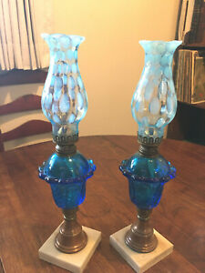 PAIR Fenton Blue Oil Lamps Opalescent Blue Coin Dot Brass Marble and Copper Base