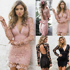 Womens Lace Deep V Neck Backless Bodycon Cocktail Ladies Party Short Mini Dress