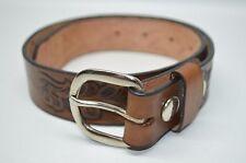 Cowboy Genuine Leather Tooled Belt Unisex Size 22