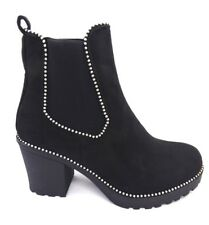 womens faux suede black medium heel ankle winter Chelsea boot with stud detail