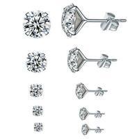 PAIR Women's Birthstone AAA Cubic Zirconia 316L Stainless Steel Stud Earrings