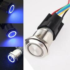19mm 12V Car Blue LED Angel Eye Metal Push Button Toggle Switch ON/OFF Socket SM