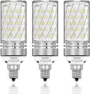 3Pk E12 Led Light Bulbs 12W Chandelier 100W Equi 1200Lm 6000K Daylight