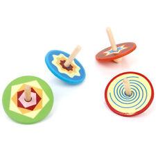 4pcs Petites Toupies en Bois Jouet Traditionnel pour Enfant L4A1