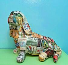 Rare Basset Hound Dog Paper Mache Figure Sculpture with Beautiful Wine Labels