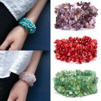 Natural Stone Crystal Chip Bead Bracelet Women Healing Reiki Chakra Lucky Bangle