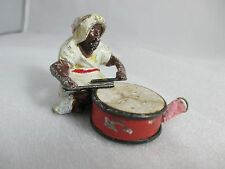 Metal MAN with DRUM wind-up TAPE MEASURE ; ANTIQUE Original c1890's