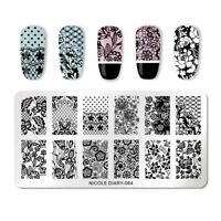 NICOLE DIARY Rectangle Nail Stamping Plates Rose Lace Pattern Nail Template 064