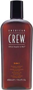 AMERICAN CREW 3 IN 1 SHAMPOO,CONDITIONER AND BODYWASH 450ML + FREE TRACK DELIVER