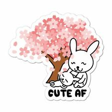 Cute Af Rabbit Car Sticker Decal Animal Blossom Tree Baby Bunny Pink Tree Love