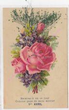 CPA FANTAISIE  AJOUTIS 1er Avril bouquet de fleurs ca1906