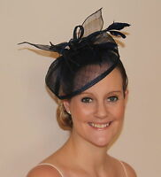 Dark Navy Blue Fascinator looped hessian hatinator on Hair Clip Weddings Races