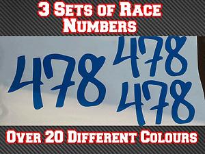 "3 Sets 7"" Race Numbers Motocross Vinyl Stickers MX Track Bike Kart N8 180mm"
