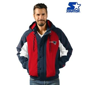 New England Patriots Starter Heavy Hitter Full Snap Hooded Jacket - Blue/Red
