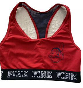 PINK Victoria's Secret Cleveland Indians Ultimate Sports Bra Small Chief Wahoo