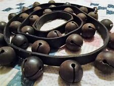 New listing 30 Antique Brass Sleigh Bells on Black Leather Strap