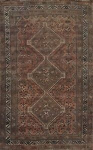 Antique Geometric Tribal Abadeh Hand-knotted Area Rug Wool Oriental 7x10 Carpet
