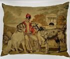 """Antique Belgian Venetian Tapestry Pillow Depicting a Boy and Dogs - 25"""" x 32"""""""