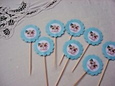 Alice In Wonderland Cupcake Picks; Mad Hatter Theme Cupcake Picks;Shower Decor