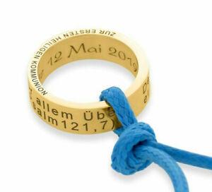 Ring Taufe Kommunion Namenskette 925 Silber KetteTaufring Gravur Kinderschmuck