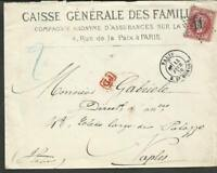 """FRANCE 1870 COVER TO ITALY (NAPOLES) GOOD CANCEL  """"11"""" W/ADVERTISING"""
