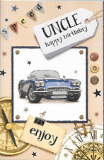 UNCLE HAPPY BIRTHDAY  CARD,male,VINTAGE BLUE SPORTS CAR THEME,TRADITIONAL.(M4).
