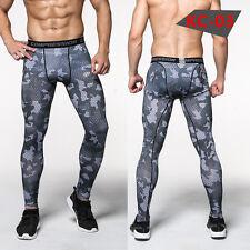 Mens Sports Long Pants Compression Dri Fit Base Layer Camo Sportswear Stretchy