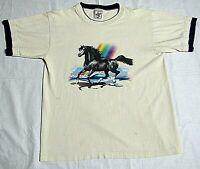 Alore T Shirt Tee Horse Rainbow Beige Black Large Double Collar Vintage 80s