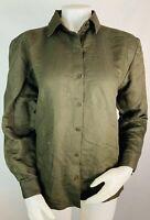 Eileen Fisher XS Women's Linen Blend Button Down Shirt Top Long Sleeve Brown