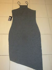 EXPRESS Grey Assymetric Spaghetti Strap BodyCon Dress Size Large NWT $59.90