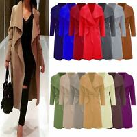 New Women Ladies Italian Long Duster Coat French Belted Trench Waterfall Jacket
