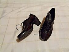womens clarks bendables black patent leather lace up heels shoes size 10