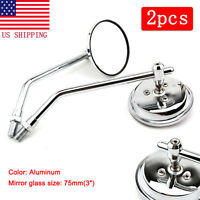 MOTORCYCLE CLASSIC CHROME ROUND REARVIEW SIDE MIRRORS 10MM UNIVERSAL FOR HONDA