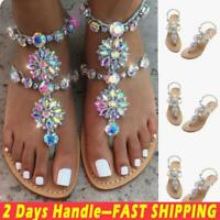 Womens Rhinestones Chains Sandals Summer Shoes Thong Gladiator Flat Heel Sandals