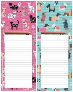 CAT / DOG Magnetic Memo Pad | Fridge Magnet Shopping List & Pencil