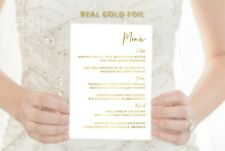 Wedding Menu Cards in Real Gold Foil A5 size Personalised Gold Foil Wedding Menu