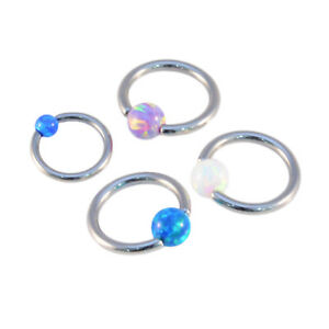 OPAL BALL BCR Captive Bead Ring Cartilage Tragus Hoop Septum ring Surgical Steel